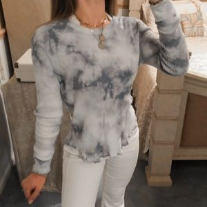 PacSun Tops - PacSun • Blue White Ribbed Long Sleeve Tie Dye Top
